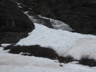 Snow resting at the foot of the avalanche