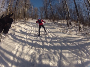 Skiing ungroomed trails
