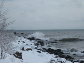 Rocky shoreline at Brighton Beach