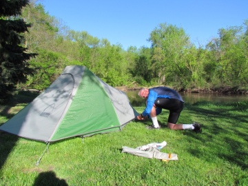Rich setting up our tent