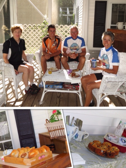 The cycling foursome enjoying a country inn breakfast