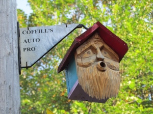 Carved birdhouse in Canning