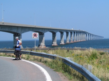 Confederation Bridge from PEI - longest bridge in the world, required a shuttle ride