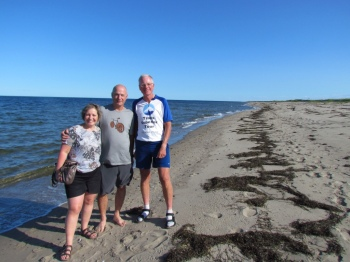 Marthe, Charles and Rich walking Kellys Beach at the National Park