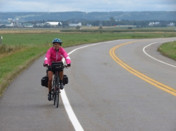 Cycling through flat farmland