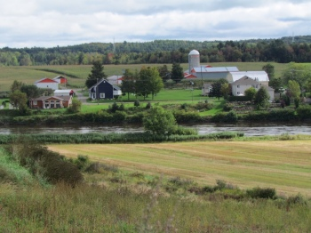 Farms right along the river