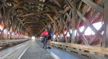 Bike trail inside the covered bridge