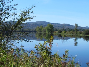Mountains reflected in the Connecticut River