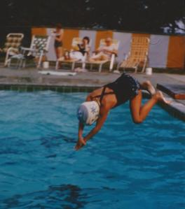 Molly diving in pool