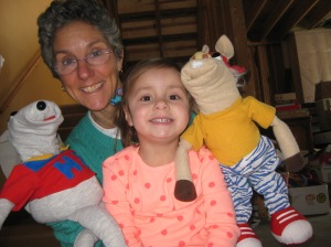 Molly and Mya with the puppets