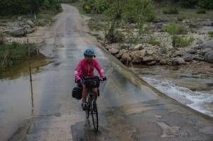 Molly crossing a stream