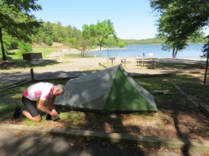 Rich pitching the tent
