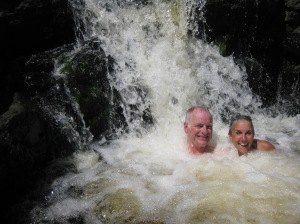 Rich and Molly at the base of the waterfall