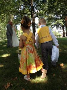 Flower Girl and Ring Bearer from the back
