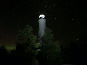 Crisp Point Lighthouse at night