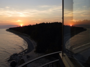 Double sunrise atop Crisp Point Lighthouse