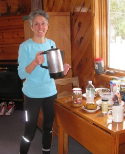 Molly serving coffee from the percolator