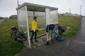 Preparing to cycle in rain