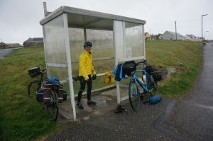 Preparing to cycle in rain