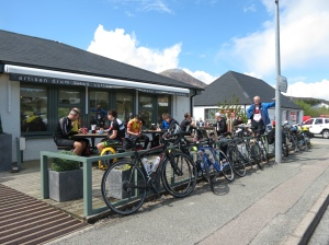 Cyclists at the coffee shop
