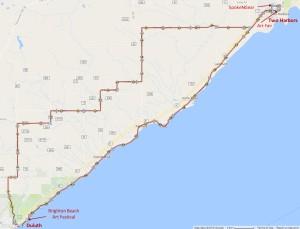 Two Harbors Art Bike Ride Map