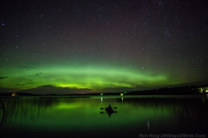 Kayaker in the Northern Lights