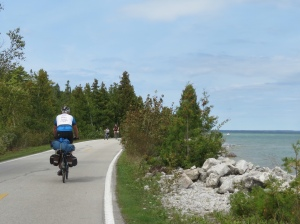 Rich cycling Mackinac Island
