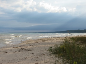 Huron beach at campsite