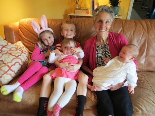 Grammy with 4 grandkids