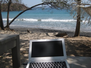 Beach view while writing