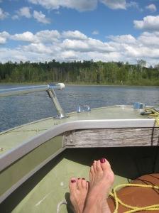 Molly feet in boat