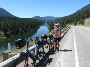 Molly cycling Clark Fork River 2