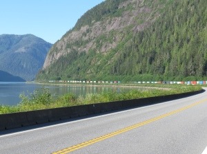 Train along Skeena river