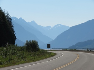 Shadowy mountains on Skeena River
