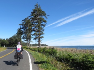 Molly cycling Haida Gwaii