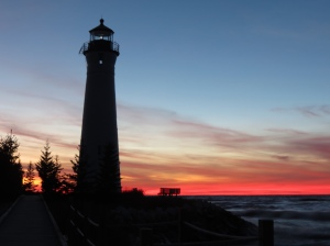 Lighthouse pink sunset