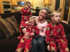 Ben, Mya and Isabel in their Grammy Jammies