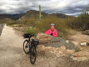 Molly with bike at Sabino Canyon
