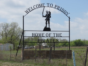 Priddy TX sign
