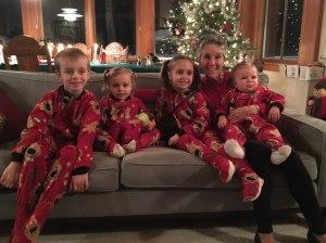 Grammy with kids in slipper jammies