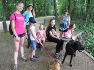 Family camping hiking