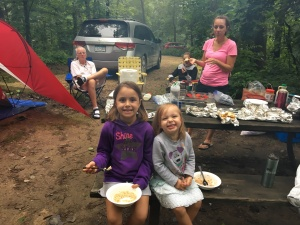 Family camping breakfast