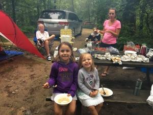 Family camping breakfast