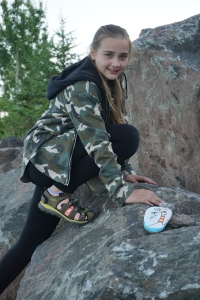 Elenka with Kindness Rocks