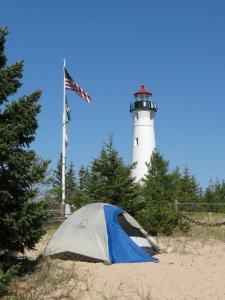 Our tent under Crisp Point Lighthouse