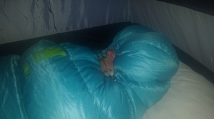 Yellowstone Molly in mummy bag