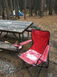 Yellowstone snowy campsite