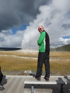 Rich photographing Old Faithful
