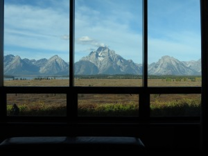 Tetons from Lobby window