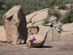 Molly and rock formations on Enchanted Rock